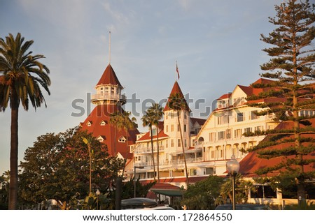 Historic resort on Coronado island outside of San Diego is the areas most famous landmark - stock photo