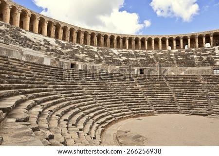 Historic Roman Aspendos theatre near Antalia in Turkey. - stock photo