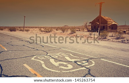 Historic Route 66 crossing the Mojave Desert in California - stock photo