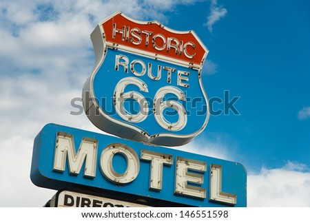 Historic route 66 motel sign in California - stock photo