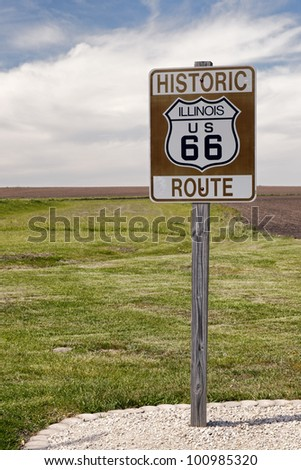 Historic Route 66 Road Sign in Illinois - stock photo
