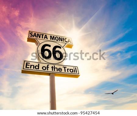 Historic Route 66 sign at Santa Monica California - stock photo