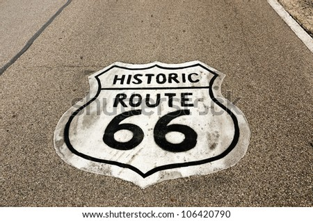 Historic Route 66 sign painted on the road in Illinois - stock photo