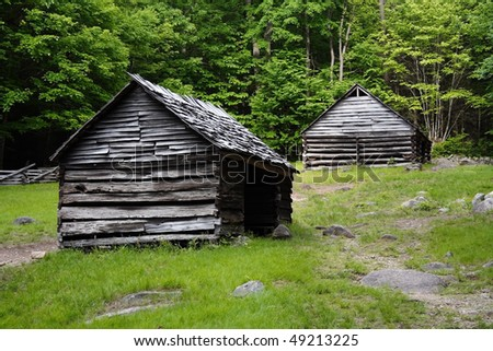 Historic rustic cabins in the Smokey Mountains, taken off of Roaring Fork Motor Nature Trail - stock photo