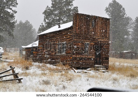 Historic 1880's log cabin in a snow storm in the mountains at Guffey, Colorado. It was the original assay office.