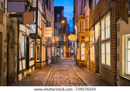 Historic Schnoor district in Bremen, Germany at night