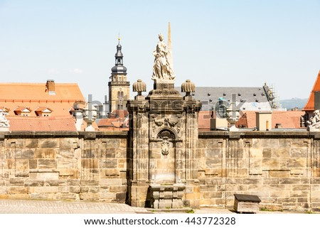 Historic sculpture at the Domplatz in Bamberg - stock photo