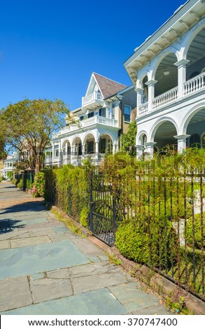 Historic southern style homes in Charleston, South Carolina. - stock photo