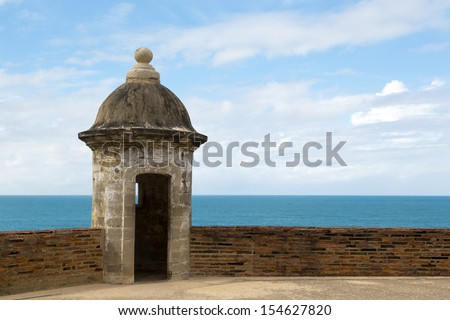 Historic Spanish lookout tower by San Juan Bay in Puerto Rico