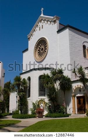 Historic Spanish mission in Santa Barbara, California - stock photo
