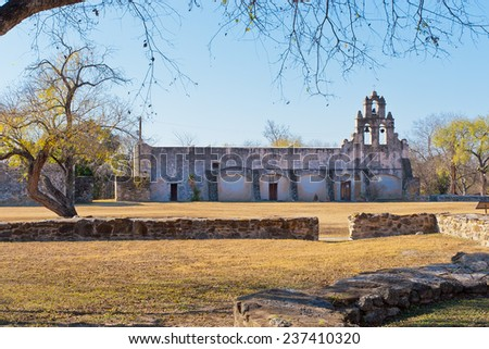 Historic Spanish Mission San Juan Capistrano in San Antonio, Texas - stock photo