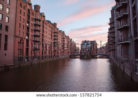 Historic Speicherstadt (houses and bridges) at the evening in Hamburg