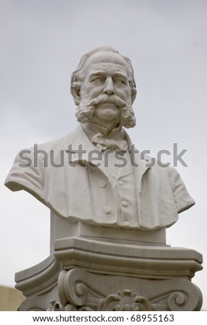 Historic statue of the physician and scientist Carlos J Finlay (1833 â?? 1915). Dr Finlay was renowned for his work on mosquitoes and yellow fever. Statue in Old Havana, Cuba for over 100 years.