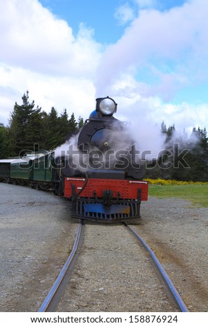 Historic steam train in South Island, New Zealand - stock photo