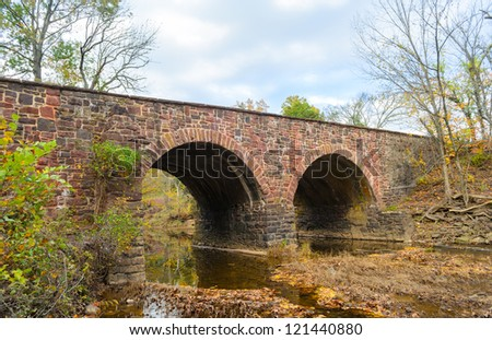 Historic Stone Bridge at Manassas National Battlefield Park - stock photo