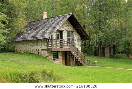 Historic stone farm house, Utah, USA. - stock photo