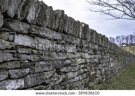 Historic stone fence in Lexington, Kentucky - stock photo