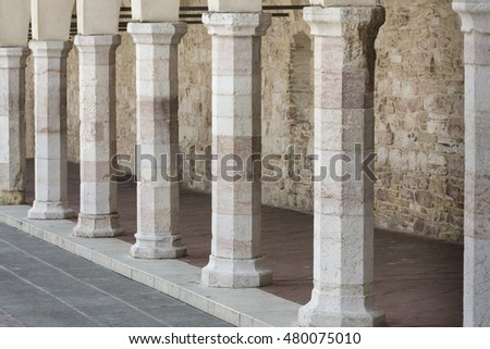 Historic stone pillars in Italy