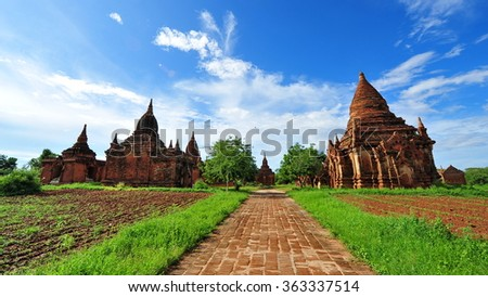Historic temples in Bagan, ancient city of Myanmar - stock photo