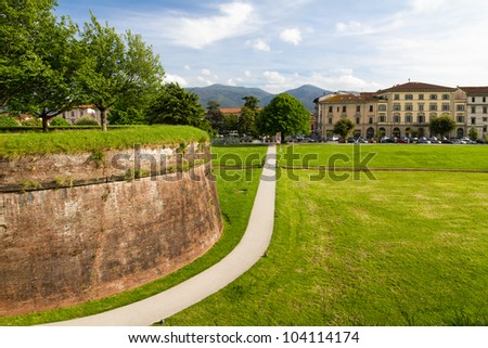 Historic town wall in Lucca, Tuscany, Italy - stock photo