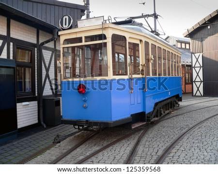 Historic tram on a street of Kazimierz district. Krakow. - stock photo