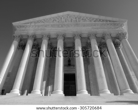 Historic US Supreme Court building in black and white. - stock photo