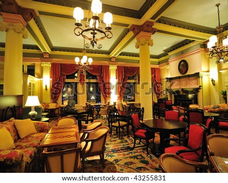 Historic victorian style hotel lobby interior look