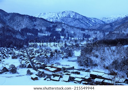 Historic Villages of Shirakawa-go and Gokayama, view of the moon light, Japan - stock photo