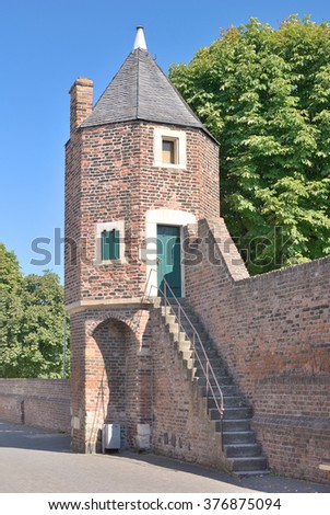 historic Watchtower in medieval Town Wall in Village of Zons at Rhine River,Rhineland,Neuss,North Rhine Westfalia,Germany - stock photo
