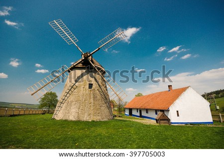 Historic windmill in the Czech countryside, Kuzelov, Bile Karpaty (The White Carpathians).
