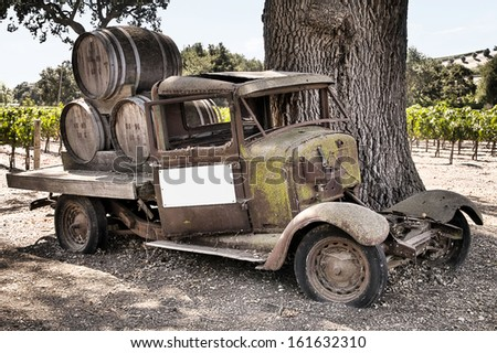 Historic wine truck in the back country of santa barbara california - stock photo