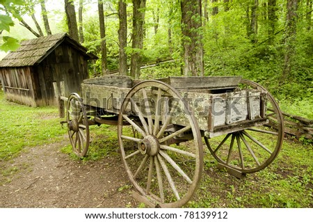 historic wooden cart and shed in Virginia