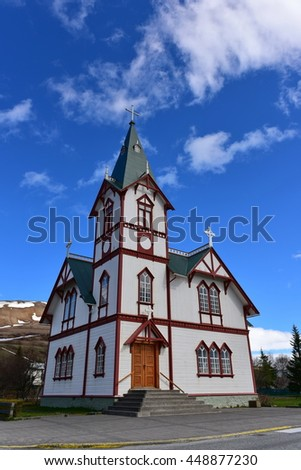Historic wooden church in Husavik town, Iceland