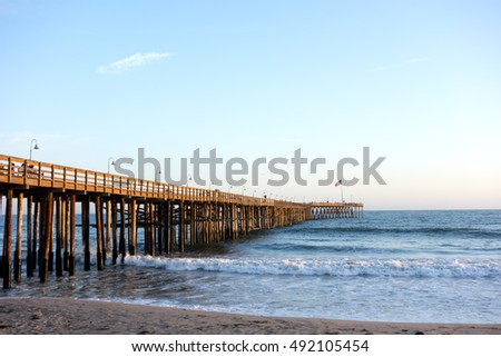 Historic wooden pier in city of San Buena Ventura, Southern California