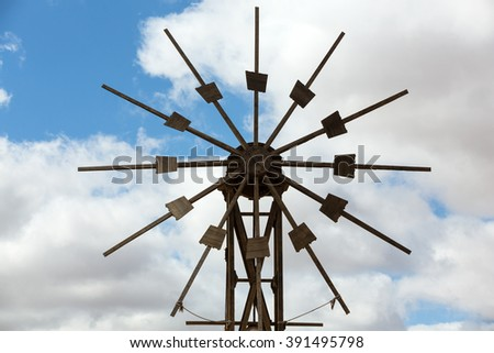 Historic wooden wind mill in Valles de Ortega with twelve wings on the Spanish island Fuerteventura one of the Canary islands in the Atlantic Ocean belonging to Spain