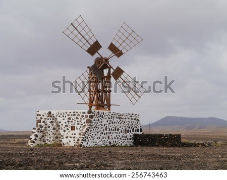 Historic wooden wind mill near the village Puerto Lajas on the  island Fuerteventura one of the Canary islands in the Atlantic Ocean belonging to Spain