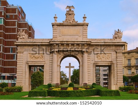 Historical and architectural monuments of Valencia - Serranos Gate, - stock photo