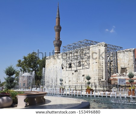 historical and the famous mosque in Ankara, Hadji Bayram Mosque  - stock photo