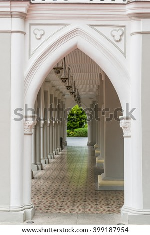 Historical architectural details of doorway at Chijmes.