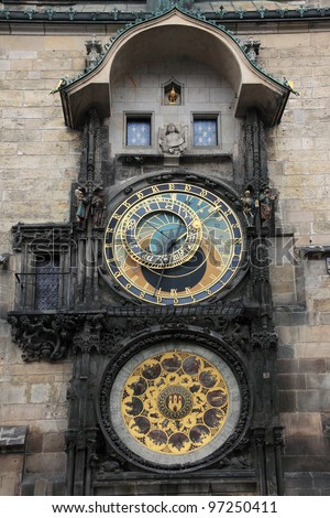 Historical astronomical Clock in Prague - stock photo