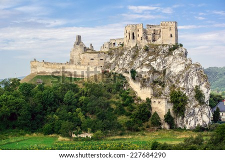 Historical Beckov castle near the Trencin city in Slovakia, Europe - stock photo