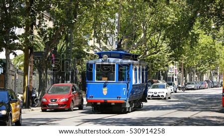 Historical blue tram in Barcelona, Catalonia, Spain, July 2016