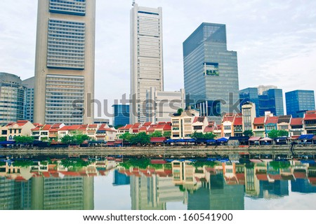 Historical Boat quay district in Singapore  - stock photo