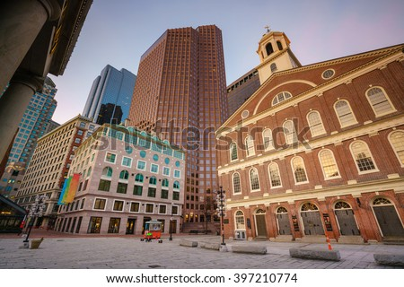 Historical building Faneuil Hall and Quincy market in Boston USA - stock photo