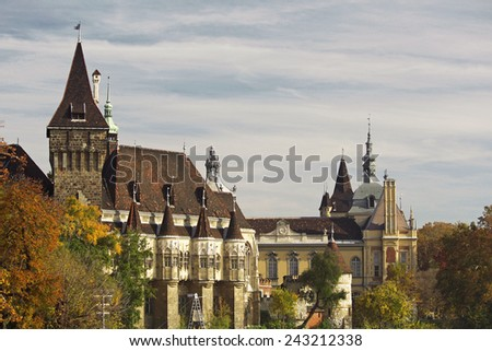Historical building in Budapest - Vajdahunyad Castle over the blue sky in main City Park. This is the similar castle like in Transilvania - stock photo