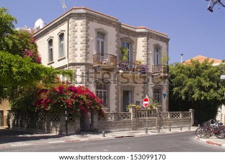 Historical building in Tel-Aviv - Neve Zedek district.Israel - stock photo