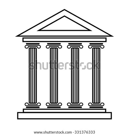 Historical building line icon, illustration. Flat design style