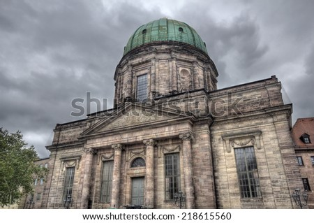 Historical building on Jacobsplatz in Nuremberg, Germany - stock photo