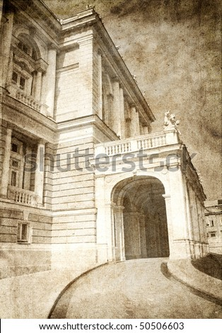 Historical building.Photo in vintage image style.