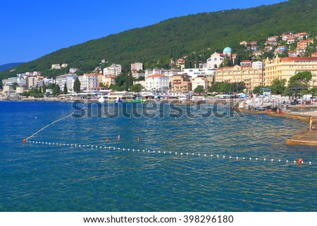 Historical buildings and distant beaches on the Adriatic sea shore, Opatija, Croatia